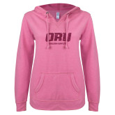 ENZA Ladies Hot Pink V Notch Raw Edge Fleece Hoodie-ORU Golden Eagles Hot Pink Glitter