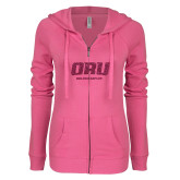 ENZA Ladies Hot Pink Light Weight Fleece Full Zip Hoodie-ORU Golden Eagles Hot Pink Glitter
