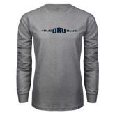 Grey Long Sleeve T Shirt-True ORU Blue