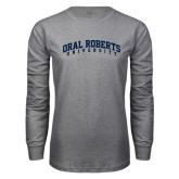 Grey Long Sleeve T Shirt-Arched Oral Roberts University