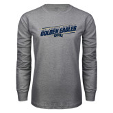 Grey Long Sleeve T Shirt-Golden Eagles Slanted w/ Logo