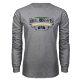 Grey Long Sleeve T Shirt-Oral Roberts Golden Eagles Arched Shield