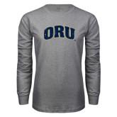 Grey Long Sleeve T Shirt-ORU Distressed