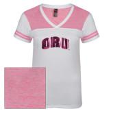 Ladies White/Bright Pink Juniors Varsity V Neck Tee-ORU Foil