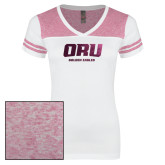 Ladies White/Heathered Pink Juniors Varsity V Neck Tee-ORU Golden Eagles  Foil