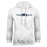 White Fleece Hoodie-True ORU Blue