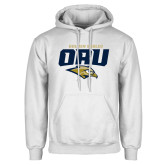 White Fleece Hoodie-Stacked Golden Eagles