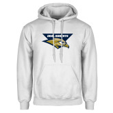 White Fleece Hoodie-Oral Roberts w/ Eagle Head Stacked