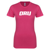 Ladies SoftStyle Junior Fitted Fuchsia Tee-ORU