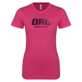 Ladies SoftStyle Junior Fitted Fuchsia Tee-ORU Golden Eagles  Foil