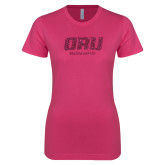 Ladies SoftStyle Junior Fitted Fuchsia Tee-ORU Golden Eagles Hot Pink Glitter