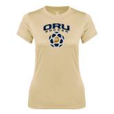 Ladies Syntrel Performance Vegas Gold Tee-ORU Soccer Geometric Ball