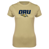 Ladies Syntrel Performance Vegas Gold Tee-ORU w Mascot