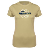 Ladies Syntrel Performance Vegas Gold Tee-Basketball Outline Design