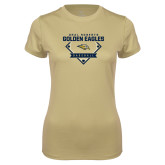 Ladies Syntrel Performance Vegas Gold Tee-Baseball Plate Design