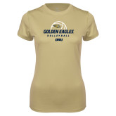 Ladies Syntrel Performance Vegas Gold Tee-Stacked Volleyball Design