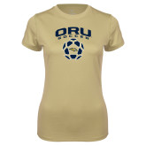 Ladies Syntrel Performance Vegas Gold Tee-Soccer Design