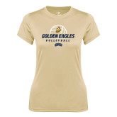 Ladies Syntrel Performance Vegas Gold Tee-Golden Eagles Volleyball Stacked