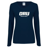 Ladies Navy Long Sleeve V Neck T Shirt-ORU Golden Eagles