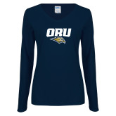Ladies Navy Long Sleeve V Neck T Shirt-ORU w Mascot