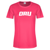 Ladies Performance Hot Pink Tee-ORU