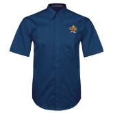 Navy Twill Button Down Short Sleeve-Eli