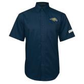 Navy Twill Button Down Short Sleeve-Golden Eagle Mascot