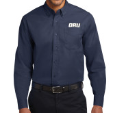 Navy Twill Button Down Long Sleeve-ORU