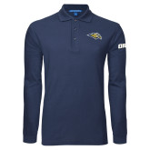 Navy Long Sleeve Polo-Golden Eagle Mascot