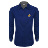 Ladies Navy Twill Button Down Long Sleeve-Eli