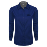 Ladies Navy Twill Button Down Long Sleeve-ORU