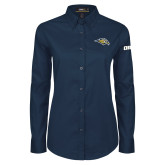 Ladies Navy Twill Button Down Long Sleeve-Golden Eagle Mascot