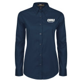 Ladies Navy Twill Button Down Long Sleeve-ORU Golden Eagles