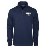 Navy Slub Fleece 1/4 Zip Pullover-ORU w Mascot