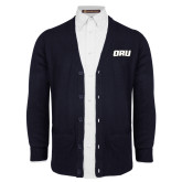 Navy V Neck Cardigan w/Pockets-ORU