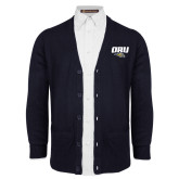 Navy V Neck Cardigan w/Pockets-ORU w Mascot