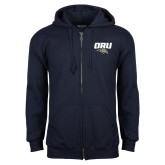 Navy Fleece Full Zip Hoodie-ORU w Mascot