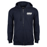 Navy Fleece Full Zip Hoodie-ORU Golden Eagles