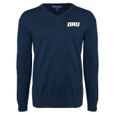 Classic Mens V Neck Navy Sweater-ORU