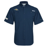 Columbia Tamiami Performance Navy Short Sleeve Shirt-Golden Eagle Mascot