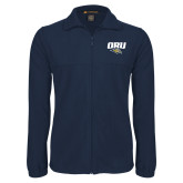 Fleece Full Zip Navy Jacket-ORU w Mascot