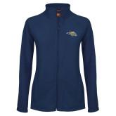 Ladies Fleece Full Zip Navy Jacket-Golden Eagle Mascot