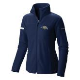 Columbia Ladies Full Zip Navy Fleece Jacket-Golden Eagle Mascot