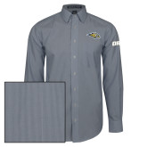 Mens Navy/White Striped Long Sleeve Shirt-Golden Eagle Mascot