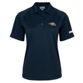 Ladies Navy Textured Saddle Shoulder Polo-Golden Eagle Mascot