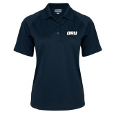 Ladies Navy Textured Saddle Shoulder Polo-ORU