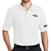 White Easycare Pique Polo-Golden Eagle Mascot