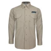 Khaki Long Sleeve Performance Fishing Shirt-ORU