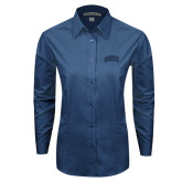 Ladies Deep Blue Tonal Pattern Long Sleeve Shirt-ORU