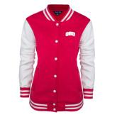 Ladies Pink Raspberry/White Fleece Letterman Jacket-ORU